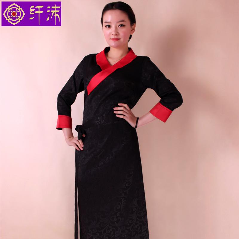 纤沫诚品 新款藏装女藏袍西藏服提花藏族服装博拉藏衣拼色拉萨服
