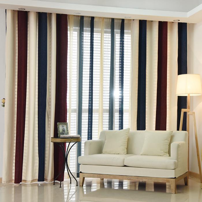 客厅窗帘条纹客厅竖条纹窗帘效果图图片2