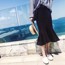 2017春装新款韩版宽松荷叶边半身裙女 夏装高腰中长款黑色裙子潮