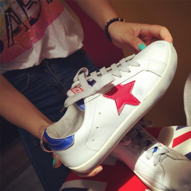 刘诗诗同款韩版小脏鞋女运动休闲鞋做旧小白鞋星星鞋蓝色系带板鞋