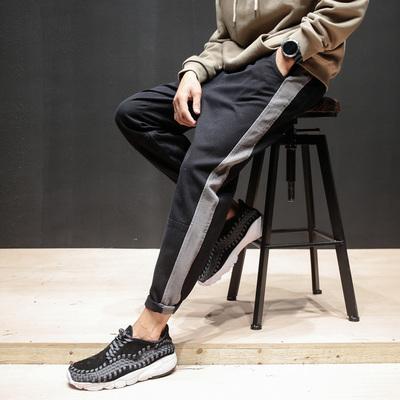 TIRED/单行者 秋冬季男士直筒休闲裤 美式宽松拼接水洗哈伦小脚裤
