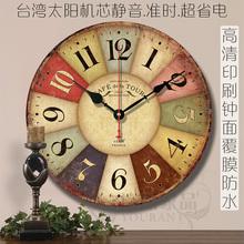 地中海欧式乡村田园复古客厅壁钟创意简约装饰静音现代木质挂钟表