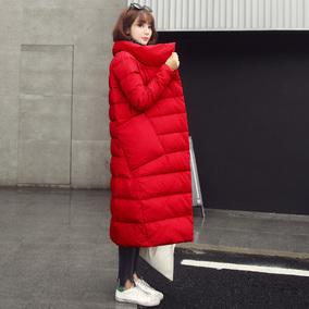 大红色长过膝加长款羽绒服女2017冬装新款韩版修身加厚外套大码潮