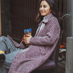 新款女装秋冬呢子茧型女外套格子中长款加厚毛呢韩国学生反季大衣