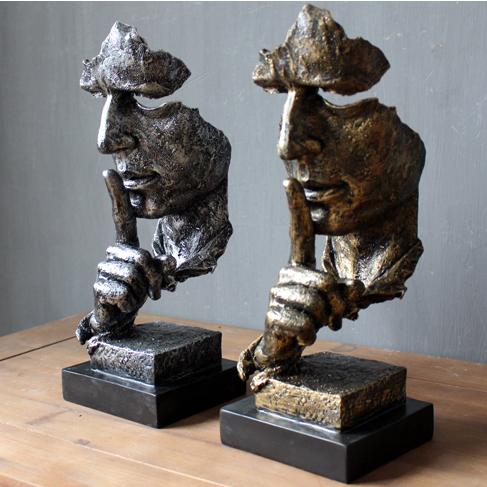 欧式现代抽象人物雕塑工艺品摆件复古办公室客厅艺术