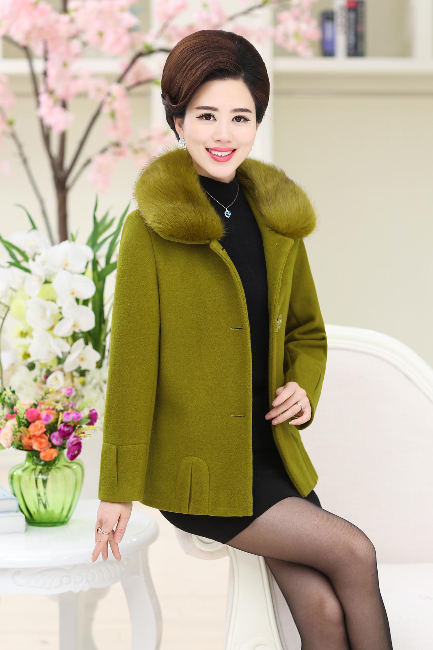 中年中老年人女装短款羊毛呢外套妈妈装秋装大衣女上衣 大衣外套