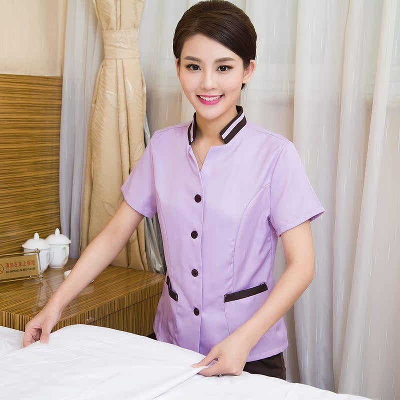 保洁工作服短袖夏装女物业酒店宾馆客房套装服务员阿姨保洁服制服
