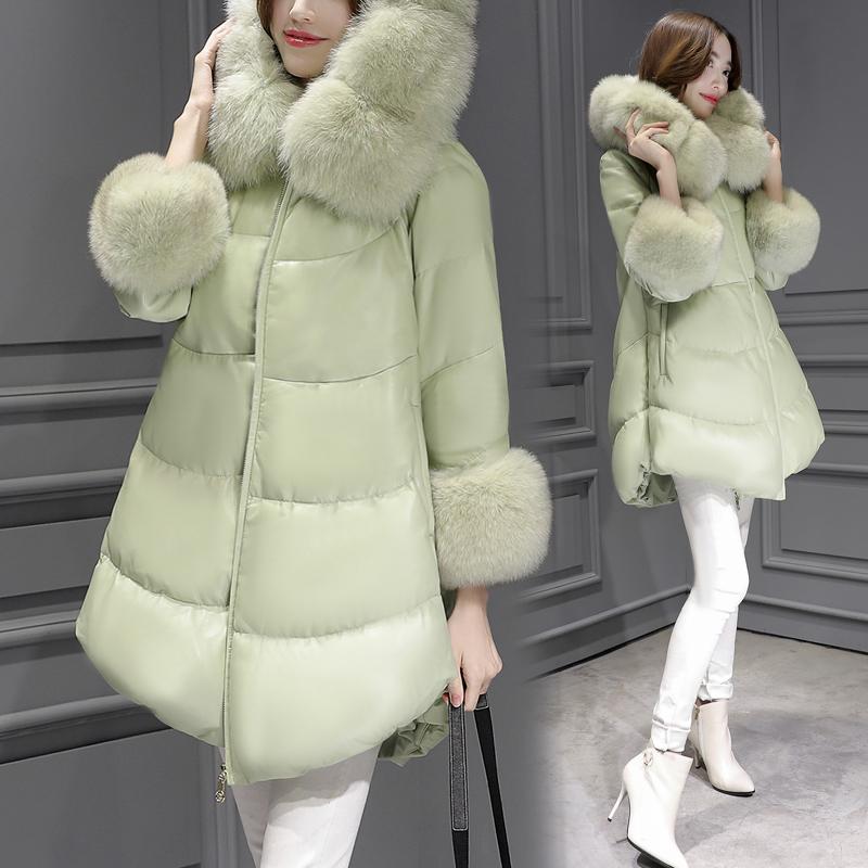 2017冬季新款女装韩版时尚毛领A字大码显瘦外套PU中长款羽绒服女