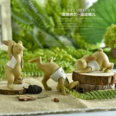 乡村风格装饰品创意礼品美式运动健儿兔子树脂摆件生日礼物摆设