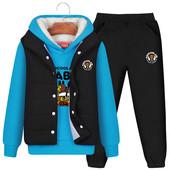 加厚加绒男童套装秋冬装2017新款童装男孩卫衣中童大童儿童三件套