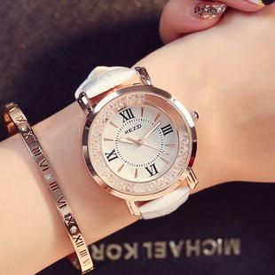 正品手表女学生时尚潮流韩版简约休闲大气时装水钻皮带防水石英表
