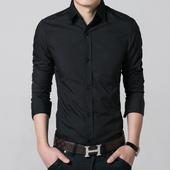 黑色衬衫男士长袖青年修身商务休闲韩版免烫衬衣男装潮流帅气寸衫