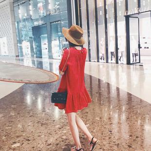 2017秋装新款女装秋款小个子宽松娃娃裙子初秋季红色鱼尾连衣裙夏