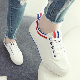女款春夏2016低帮平底帆布鞋子女子单鞋小白鞋学院风运动休闲板鞋