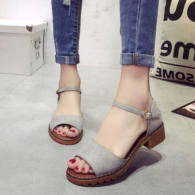 17年新款凉鞋女夏平底韩国学生百搭2017新款时尚简约复真的便宜了