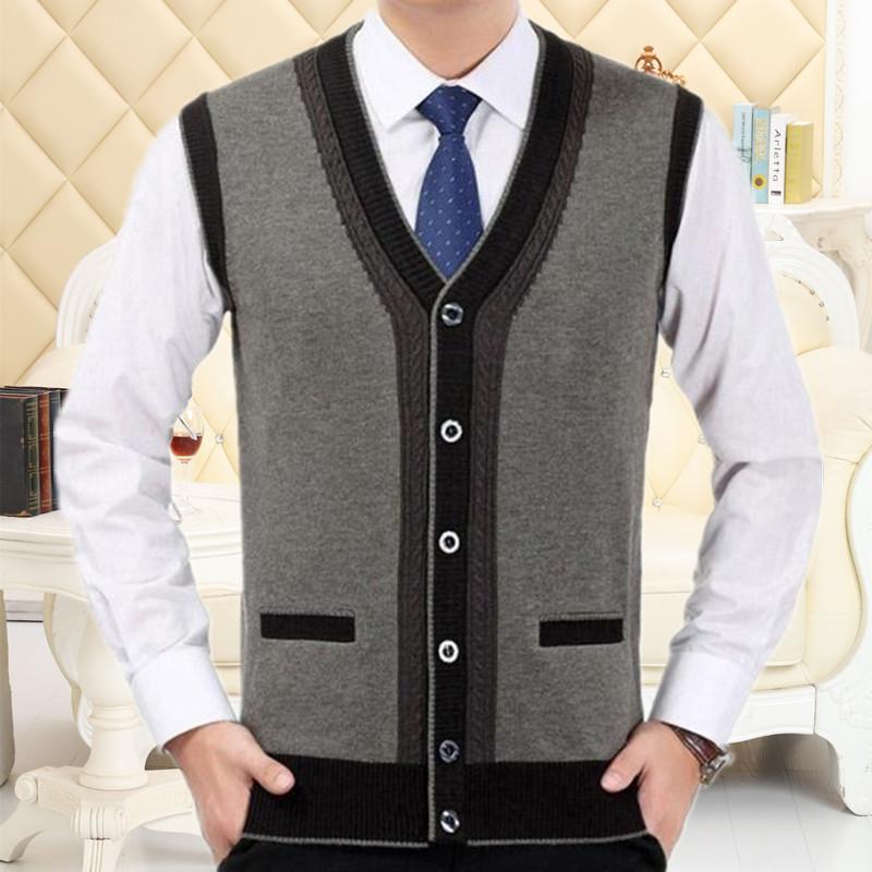 男装毛衣背心中老年男士无袖开衫秋冬羊毛针织衫中年爸爸坎肩马甲