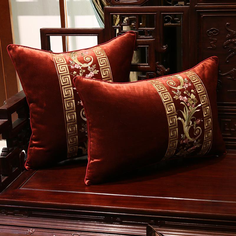 割绒中式红木绣花办公室沙发靠垫抱枕腰枕床头靠含芯大靠枕靠背套