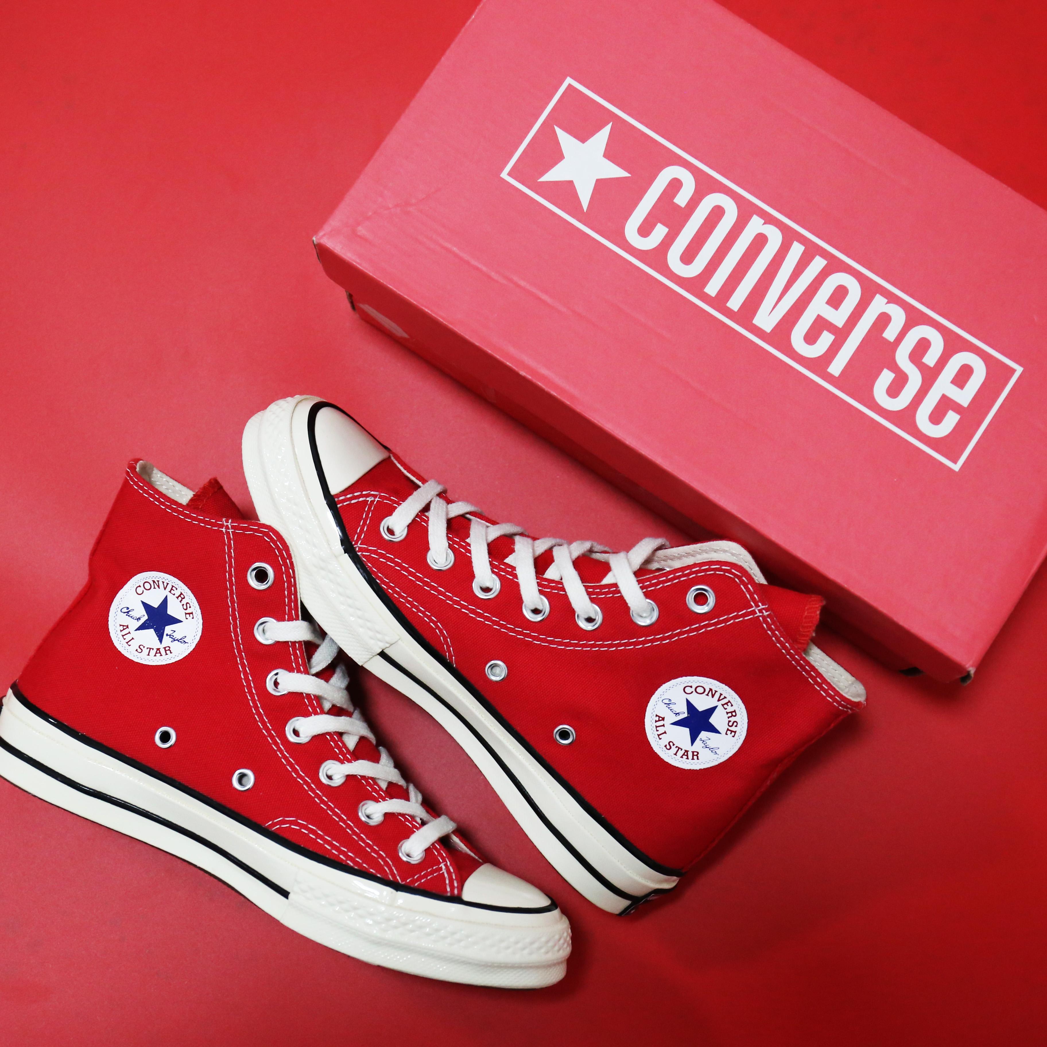 Converse 匡威1970s SantaRed 圣诞红高帮三星标帆布鞋 143291C
