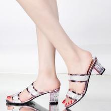 时尚 女鞋 外穿大码 凉鞋 一字拖粗跟女士凉拖鞋 女夏中跟韩版 2016新款