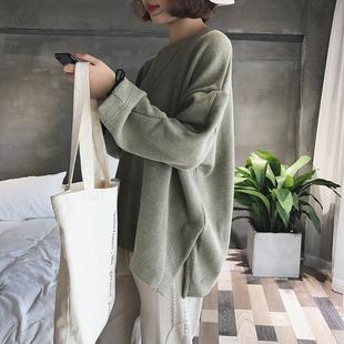 秋季新款卫衣女纯色长袖套头韩版圆领宽松百搭学生休闲上衣外套潮
