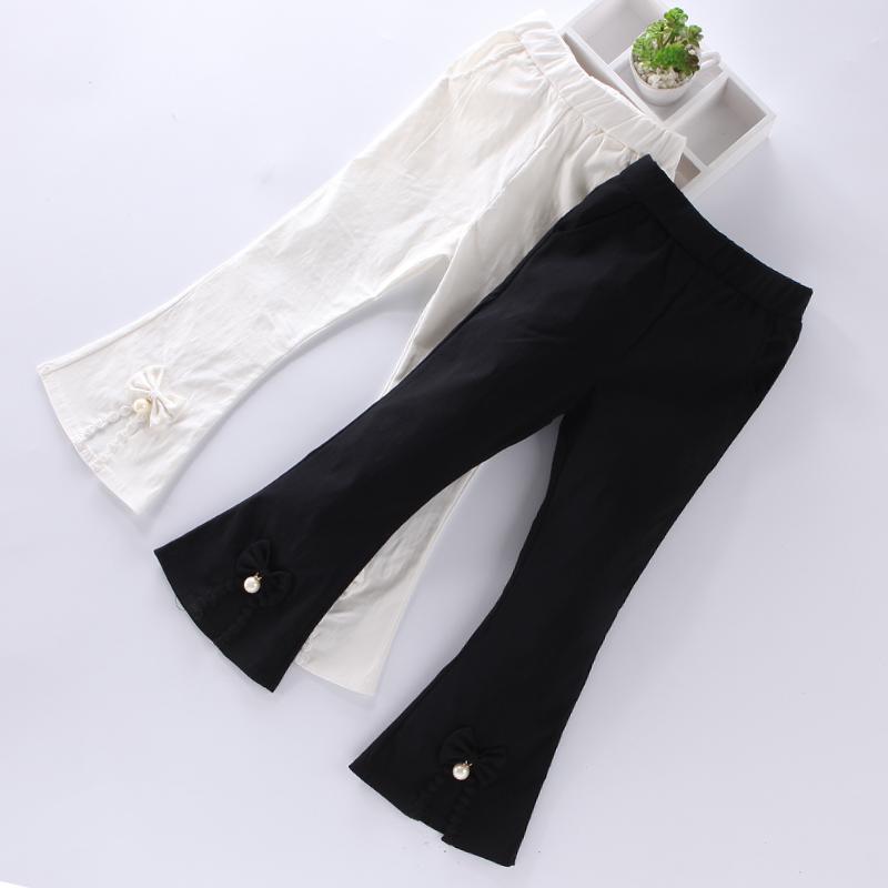 女童七分喇叭裤夏白色韩版儿童中裤马裤小女孩裤子薄款秋4-6-12岁