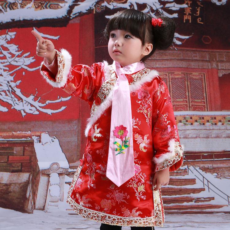 女童旗袍冬季厚宝宝新年2016婴儿