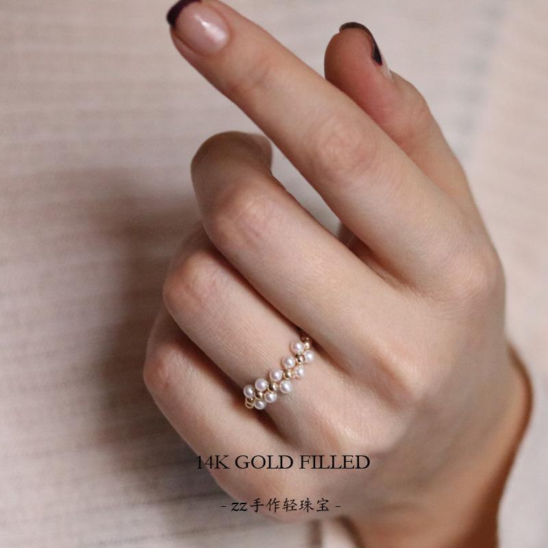 注金极小天然淡水珍珠戒指14k