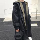 韩版 宽松风衣外套OVERSZIE蝙蝠袖 方寸先生17秋新款 连帽风衣秋外套
