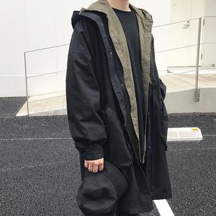 方寸先生17秋新款韩版宽松风衣外套OVERSZIE蝙蝠袖连帽风衣秋外套