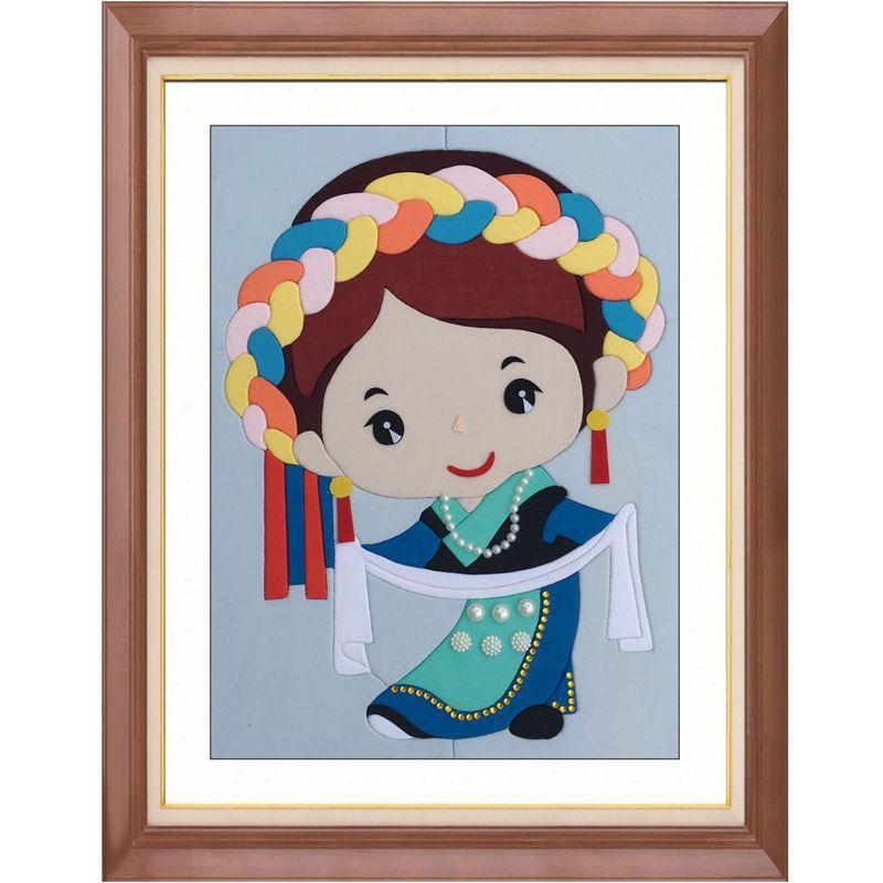 壹朵新品diy布嵌布贴拼布画材料包56少数民族服饰人物藏族30x40cm图片