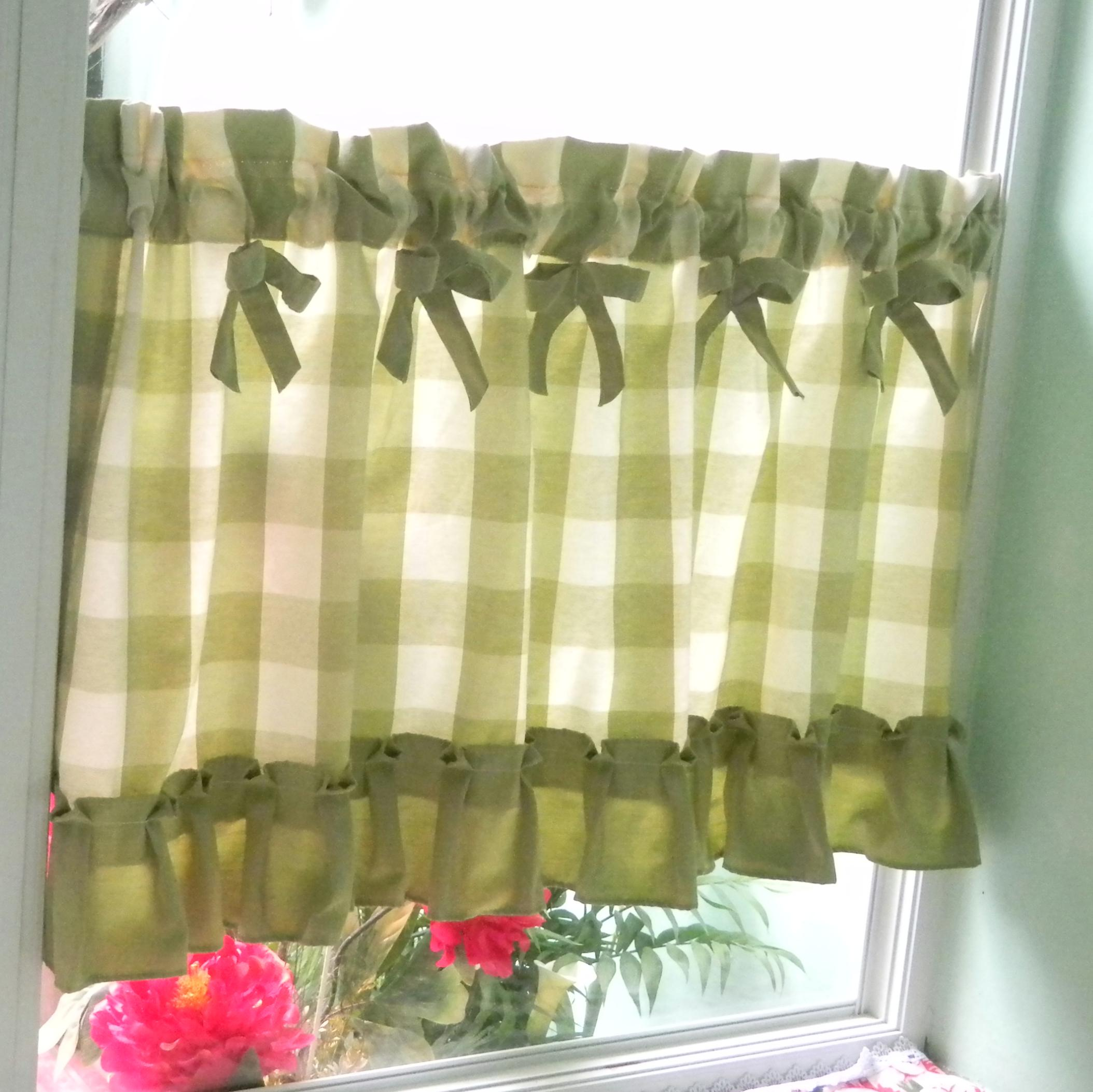 美式乡村绿格子小短窗帘成品半帘厨房卧室卫生间门挂