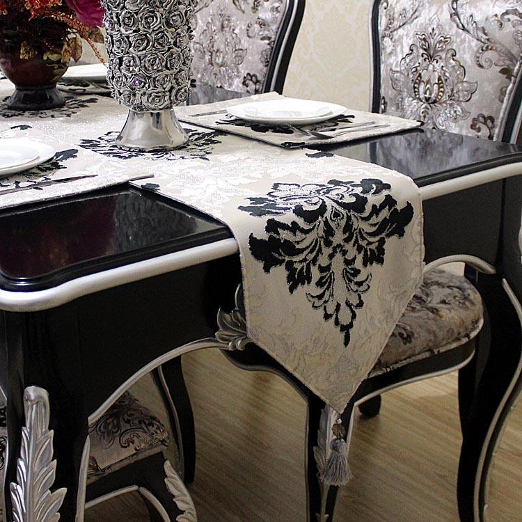 桌旗欧式黑白咖银丝割绒