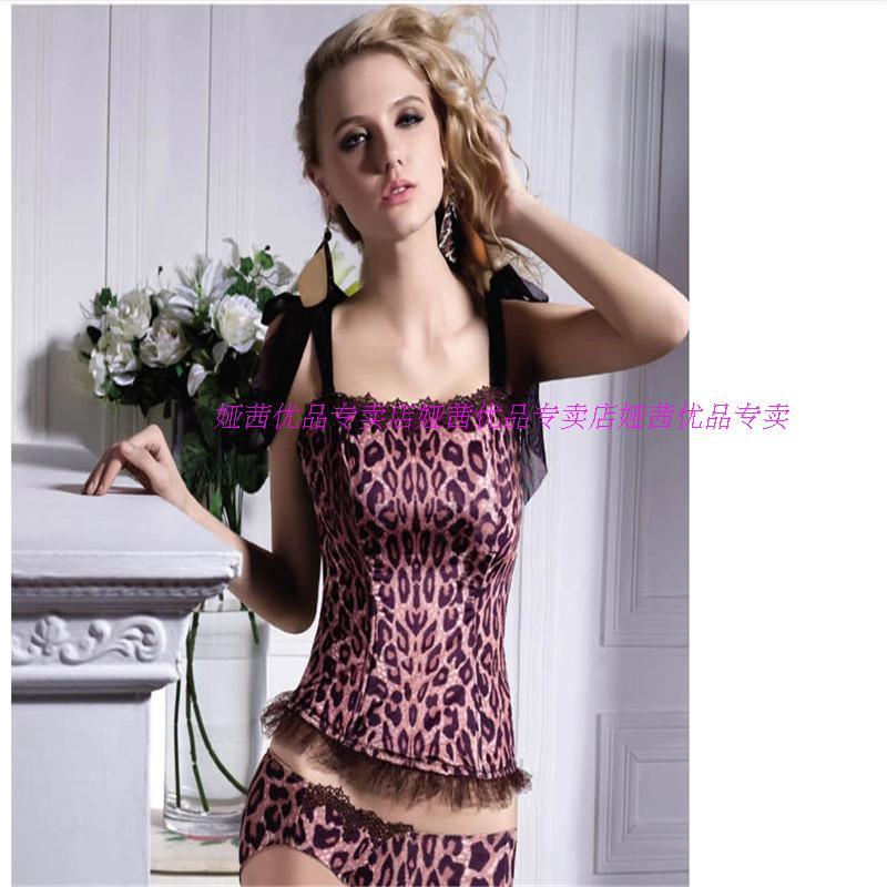 正品娅茜内衣性感豹纹女士塑身美体蕾丝吊带衫上衣背心50058D