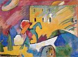 蓬皮杜文化艺术中心咳楔斯基油画即兴3现代抽象装饰挂画