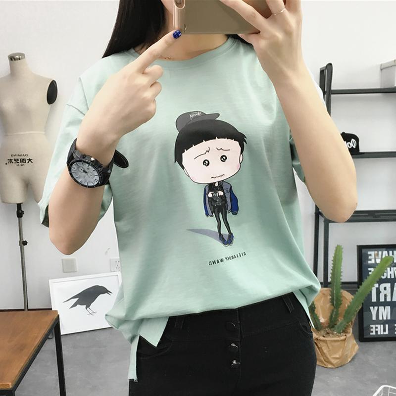 韩版宽松卡通圆领印花T恤