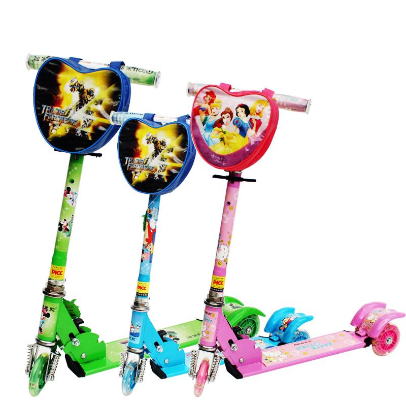 儿童三轮闪光滑板车高度可调宝宝踏板车童车玩具儿童滑滑车
