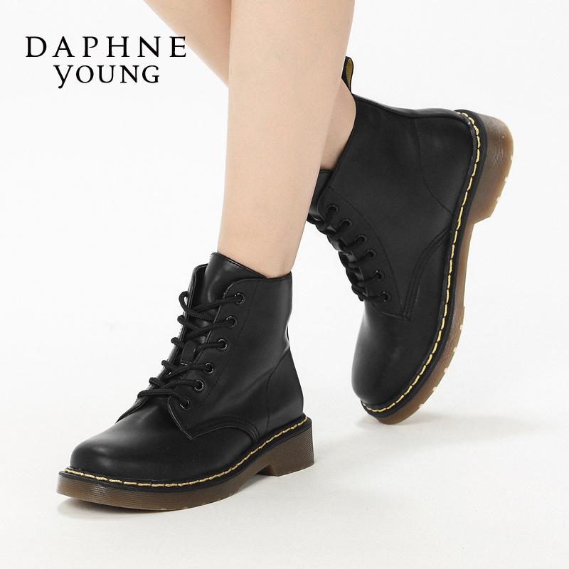 舒适圆头系带英伦马丁靴 达芙妮新款低跟短靴 Daphne