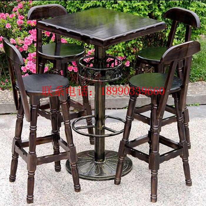 厂家批发现货实木酒吧桌椅欧式铁艺碳化酒吧凳吧台椅
