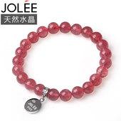 Jolee草莓晶S925银手链女款水晶手串首饰品孝敬老婆女人节礼物