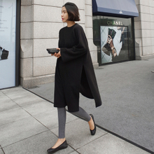 现货MOM韩国代购女装正品2016秋装新款 个性侧开叉高腰宽松连衣裙