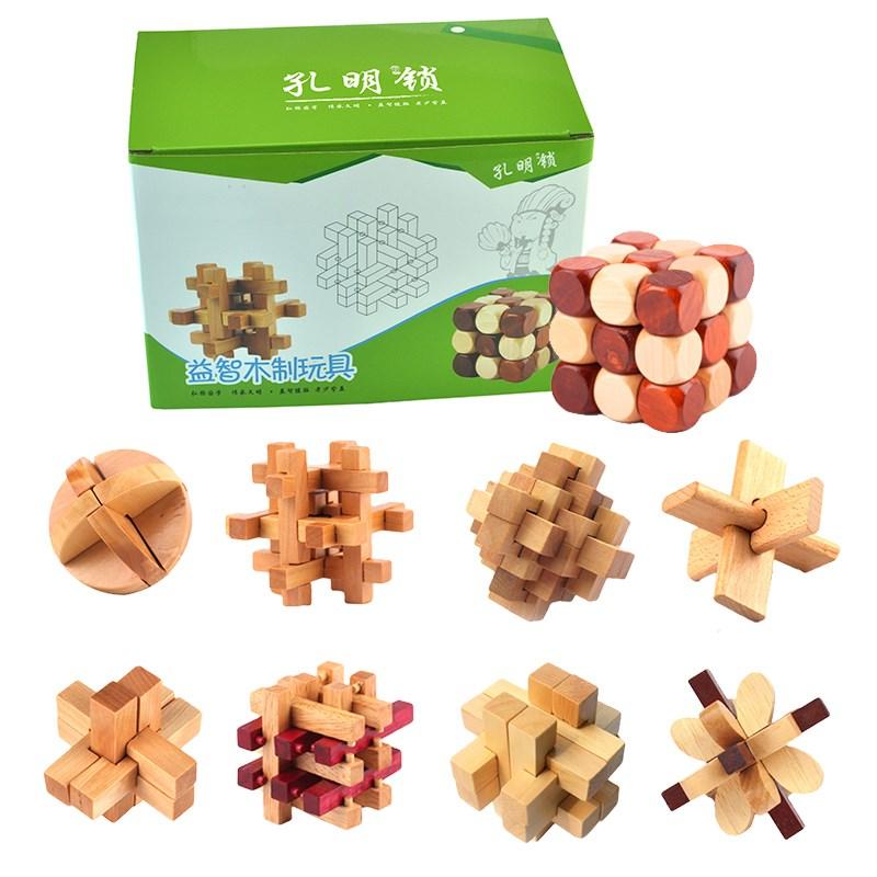 孔明锁鲁班锁成人益智力解锁玩具实木制学生减压组合