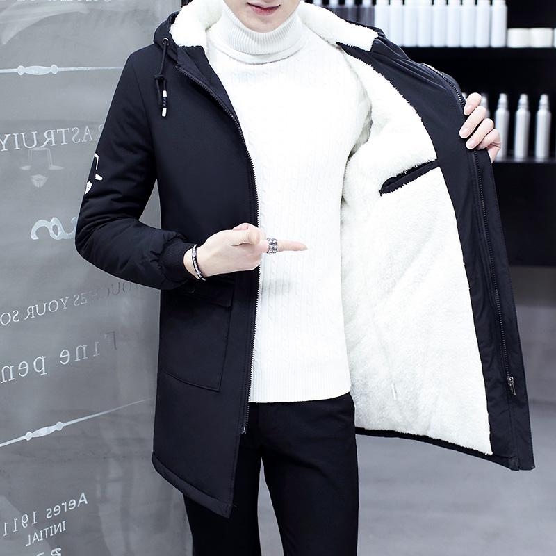 风衣男中长款韩版青少年修身学生大衣冬季男装加绒加厚潮流外套冬