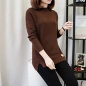 毛衣女秋冬打底衫针织衫外套头宽松韩版长袖半高领中长新款加厚装