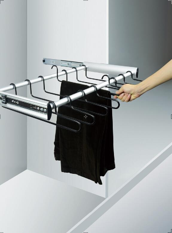 裤抽拉篮 美国维纳斯配非阻尼海蒂诗轨道柜内不锈钢可调伸缩裤架