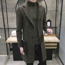 冬季雪花中长款毛呢大衣男士加肥加大码呢子风衣加厚外套潮男装胖