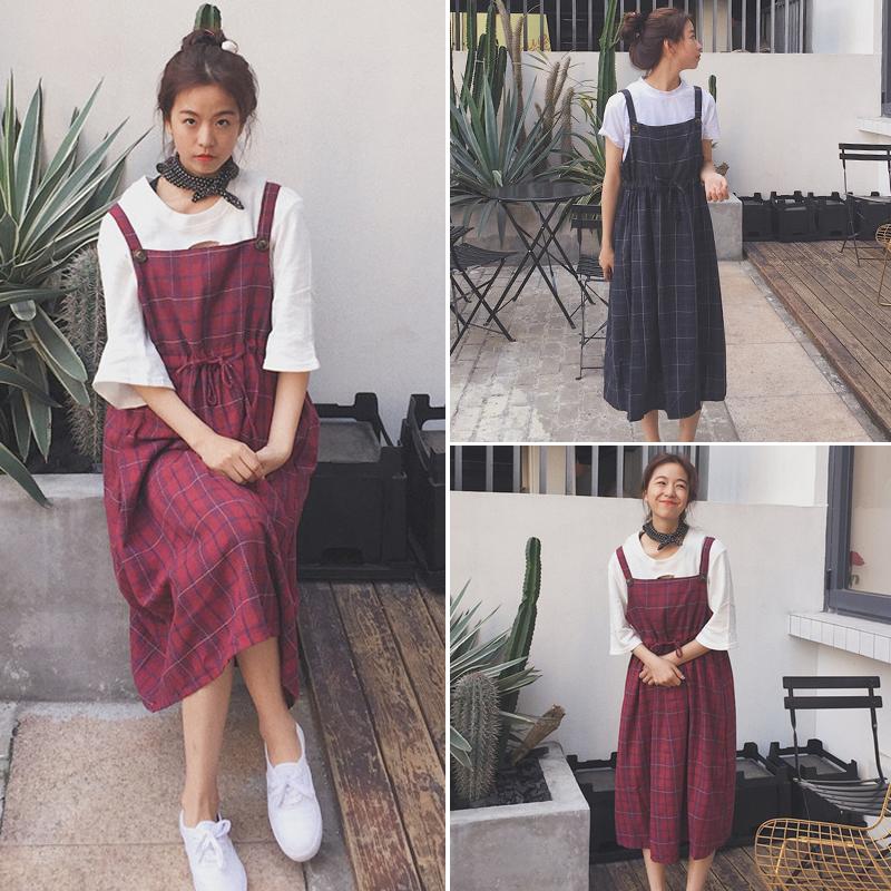 宽松连衣裙风格收腰显瘦中夏季长款背带裙学院