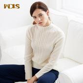 维多拉斯羊绒衫女半高领麻花秋冬新款毛衣螺纹针织衫花边立领