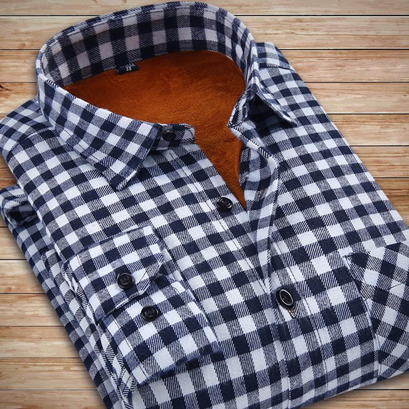 意宾格子保暖衬衫男士 长袖 衬衫加绒加厚修身休闲M男装磨毛衬衣