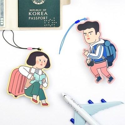 韩国正品jamstudio创意卡通人物造型旅行行李牌防丢姓名信息牌