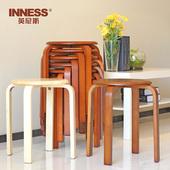 英尼斯 实木凳圆凳时尚板凳餐桌凳创意餐凳家用凳木凳子实木矮凳
